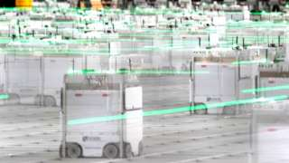 Robots at Ocado's warehouse in Erith