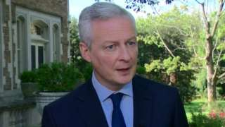 French finance minister Bruno Le Maire speaks in Washington following the G7 talks