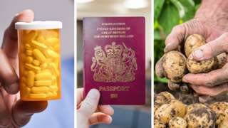 Composite of medicine, passports and potatoes