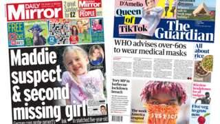 The Daily Mirror and the Guardian front pages 6 June