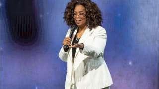 Oprah Winfrey onstage during her 2020 Vision tour, sponsored by Weight Watchers International