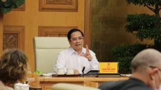 Thủ tướng Phạm Minh Chính phát biểu tại buổi làm việc với các doanh nghiệp châu Âu tại Việt Nam
