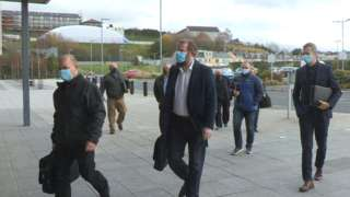 Representatives from the unions arriving at Newry Leisure Centre
