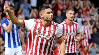 Brentford striker Neal Maupay celebrates his goal against Sheffield Wednesday
