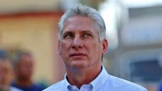"""In this file picture taken on March 11, 2018 Cuba""""s First Vice-President Miguel Diaz-Canel queues at a polling station in Santa Clara, Cuba,"""