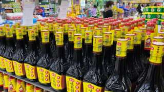 Bottles of soy sauce produced by Foshan Haitian Flavouring & Food Co., Ltd at a supermarket at Wanda Plaza in Beijing, China.
