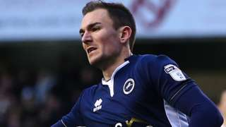 Millwall midfielder Jed Wallace celebrates scoring the opening goal against Middlesbrough at the Den