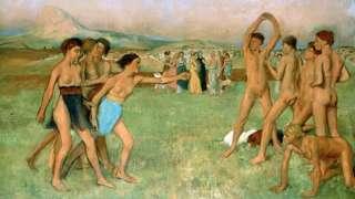 Pintura representando os espartanos se exercitando por Edgar Degas (1834-1917);