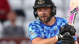Sussex skipper Luke Wright smashed 75 off 44 balls to help Sussex batter Essex at Chelmsford
