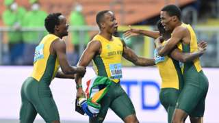 South Africa men's 4x100m team celebrate winning at the 2021 World Athletics Relays