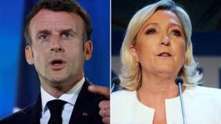 Composite picture of Emmanuel Macron and Marine Le Pen