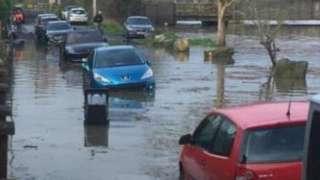 Flooded road in Bristol