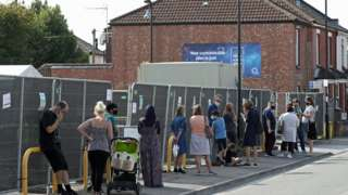 People queuing for coronavirus tests in Southampton