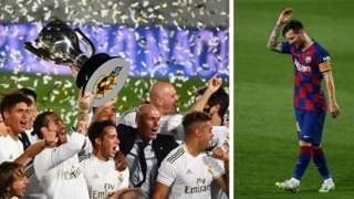 Awọn agbabọọlu Real Madrid ati Lionel Messi