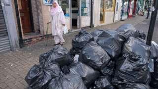 Bin bags piled up in Birmingham