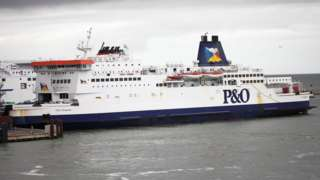 A P&O Ferries ferry docked at Dover
