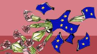 An EU flag flower vase smashing on the floor