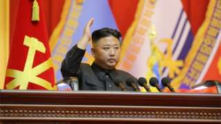 """North Korea""""s leader Kim Jong Un leads the first workshop of the commanders and political officers of the Korean People""""s Army"""
