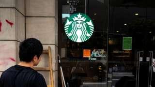Vandalised Starbucks store