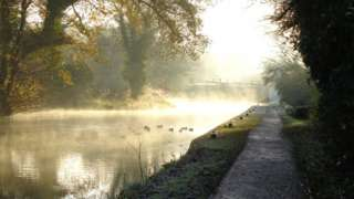 Mist over water by a canal path