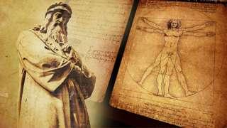 Estatua de Leonardo da Vinci y el Hombre de Vitruvio