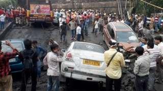 Partially collapsed bridge in Kolkata, India. Photo: 4 September 2018