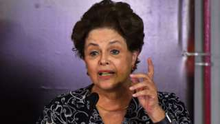 Former Brazilian president Dilma Rousseff speaks during a campaign rally in January