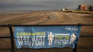 Warnings on Fleetwood beach seen on 29 January 2021