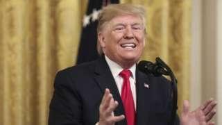 President Donald Trump speaks at the White House. 6 November