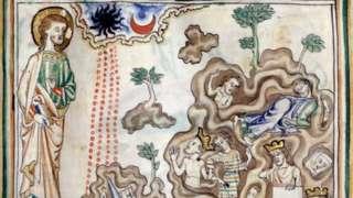 """Una miniuatura del siglo XIII que muestra """"El Apocalipsis de Cambrai"""": ocurre un terremoto, el sol se vuelve negro y la luna se vuelve roja como la sangre. Reyes y nobles se refugiaron en cuevas"""