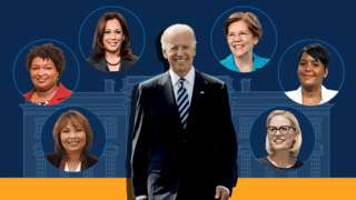Graphic showing Joe Biden with various politicians in the running for vice-presidential contender