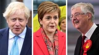Boris Johnson, Nicola Sturgeon a Mark Drakeford