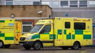 Ambulance outside a hospital