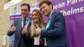 Winning Brexit Party candidates at the Chelmsford count
