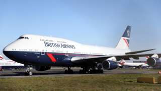 A British Airways Boeing 747 aircraft parked at Bournemouth airport