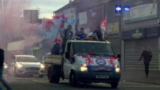 Rangers fans in Belfast celebrating title win