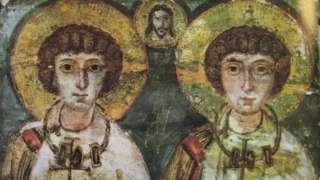 Imagem dos santos Sérgio e Baco, datada do século7