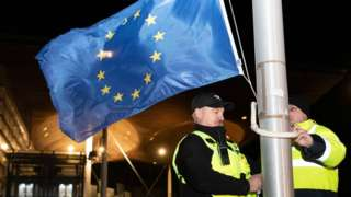 The EU flag lowered