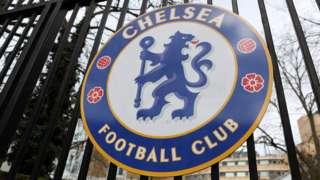 The Chelsea FC badge on gates at Stamford Bridge