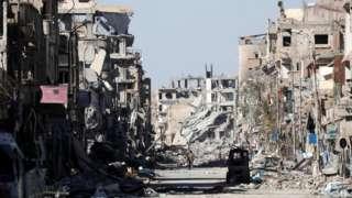 Bombed buildings in Raqqa