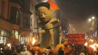An effigy of Korean leader Kim Jong-un was paraded through the streets