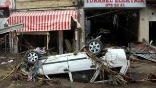 Wrecked car in Bozkurt, 13 Aug 21