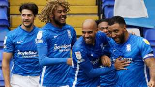 Birmingham celebrate Troy Deeney's goal