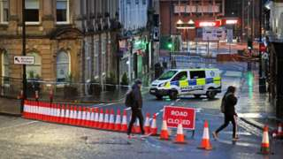 A police cordon at West George Street in Kilmarnock