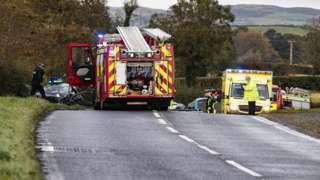Car and bus crash in Downpatrick Road, Clough
