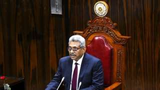 Sri Lanka's President Gotabaya Rajapaksa speaks at the national Parliament session in Colombo on August 20, 2020. - Sri Lanka's new parliament opened its first session on August 20 with a murderer and an accused killer among its ranks after a sweeping election victory by the ruling Rajapaksa brothers. (Photo by ISHARA S. KODIKARA / AFP) (Photo by ISHARA S. KODIKARA/AFP via Getty Images)