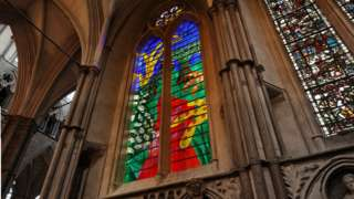 The Queen's window in Westminster Abbey
