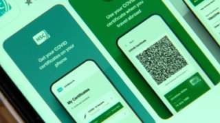 The CovidCertNI app on a mobile phone