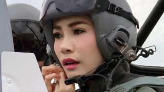 Sineenat Wongvajirapakdi, pictured here piloting a fighter jet, was appointed the king's royal consort in July