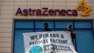 Protesters at AstraZeneca HQ in Cambridge